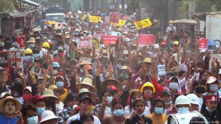 Large protests are occurring daily across many cities and towns in Myanmar.