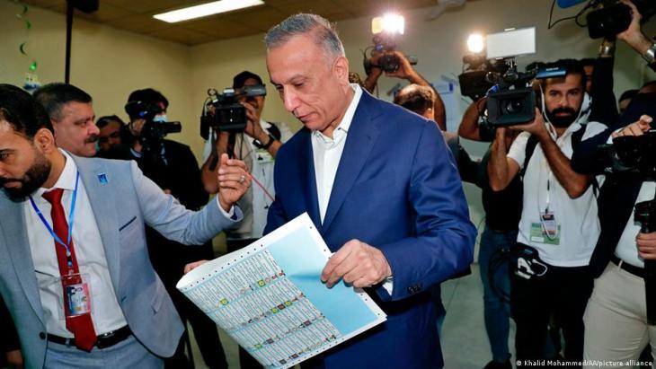 Iraq's interim Prime Minister Mustafa al Kadhimi at the polling station.