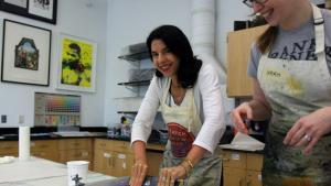 Lebanese-American artist Helen Zughaib and artist-in-residence at George Mason University, Fairfax, Virginia (photo: Erwin Thamm)
