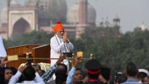 Indian Prime Minister Narendra Modi gestures a traditional greeting prior to his speech as part of India's 72nd Independence Day celebrations, which marks the 71st anniversary of the end of British colonial rule, at the Red Fort in New Delhi on 15 August 2018 (photo: Getty Images/AFP/P. Singh)