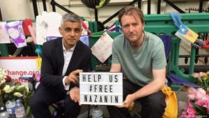 In solidarity with Nazanin Zaghari-Ratcliffe, the Thomson Reuters project manager detained in Iran: London's Mayor Sadiq Khan and her husband appeal for her release (source: Twitter)