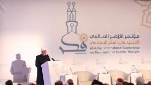 Grand imam of Al-Azhar Sheikh Ahmed al-Tayeb addressing the Al-Azhar International Conference on Renovation of Islamic Thought (photo: Al-Azhar Alumni UK; https://www.facebook.com/pg/WAAGUK/photos/?ref=page_internal)