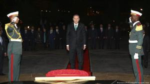 Turkish President Recep Tayyip Erdogan attends a ceremony at the Algerian Martyrs monument in Algiers, Algeria, 26 February 2018 (photo: Kayhan Ozer/Pool Photo via AP)