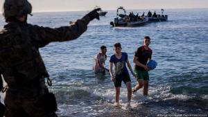 Young migrants arriving in Ceuta, 19 May 2021 (photo: Bernat Armangue/AP Photo/picture alliance)