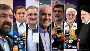 The seven presidential candidates approved by Iran's Council of Guardians, on the far right Ebrahim Raisi, favourite to win
