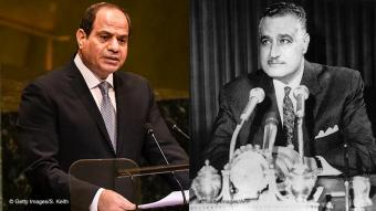 Egyptian President Abdul Fattah al-Sisi delivers a speech to the United Nations General Assembly on 25 September 2018 in New York City (photo: Stephanie Keith/Getty Images); Egyptian President Gamal Abdel Nasser addresses the Egyptian people on 31 March 1968 (photo: STF/AFP/Getty Images)
